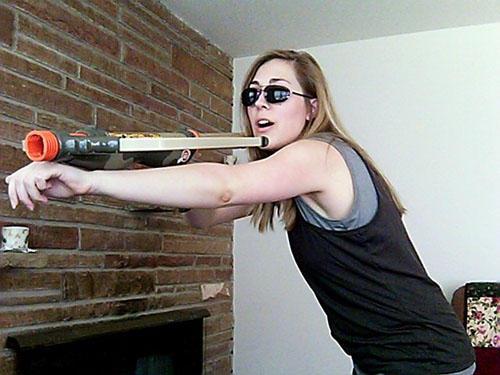 Banshee: Pointing a crossbow at the camera