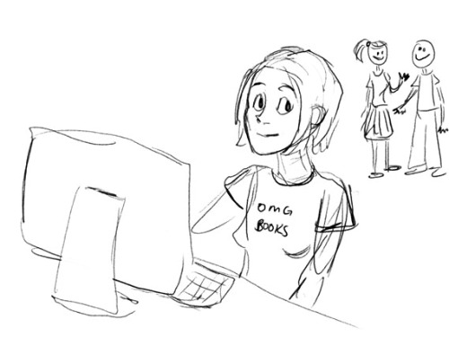 A drawing of a library student wearing a tshirt which reads OMG BOOKS!