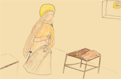 Crayon iconography of Tabitha, peacefully sewing clothes by hand