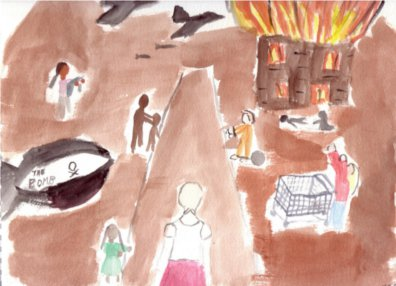 My painting of the world. A woman wearing a kerchief faces a child reaching up to her, two dark shadows, a bomb, a woman holding the dead body of a child, a woman with a shopping cart lifting her arms skyward, an person in an orange jumpsuit with a ball and chain, fighter planes dropping bombs over a burning building with a woman kneeling on the ground in front of it over a body